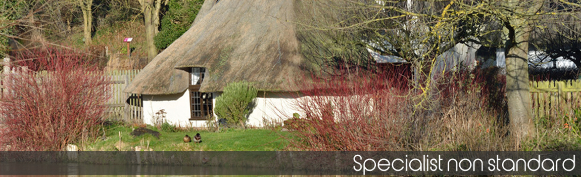 Specialist non-standard home insurance policies - white walled thatched cottage on the river