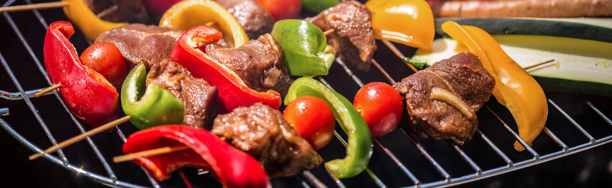 Panorama of tasty grilled food perfect for summer lunch